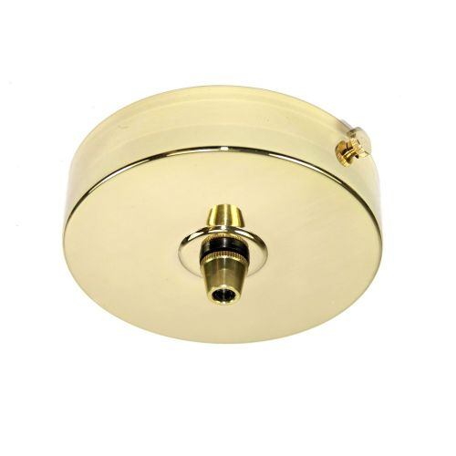 99mm Diameter Solid Brass Ceiling Rose Polished Finish c/w Brass Cordgrip